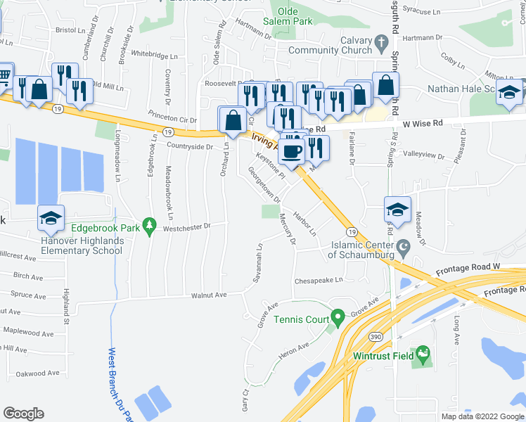 map of restaurants, bars, coffee shops, grocery stores, and more near 1838 Keystone Place in Schaumburg