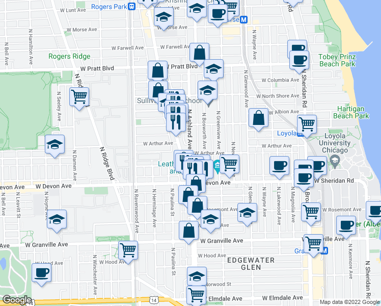 map of restaurants, bars, coffee shops, grocery stores, and more near North Ashland Avenue & West Arthur Avenue in Chicago