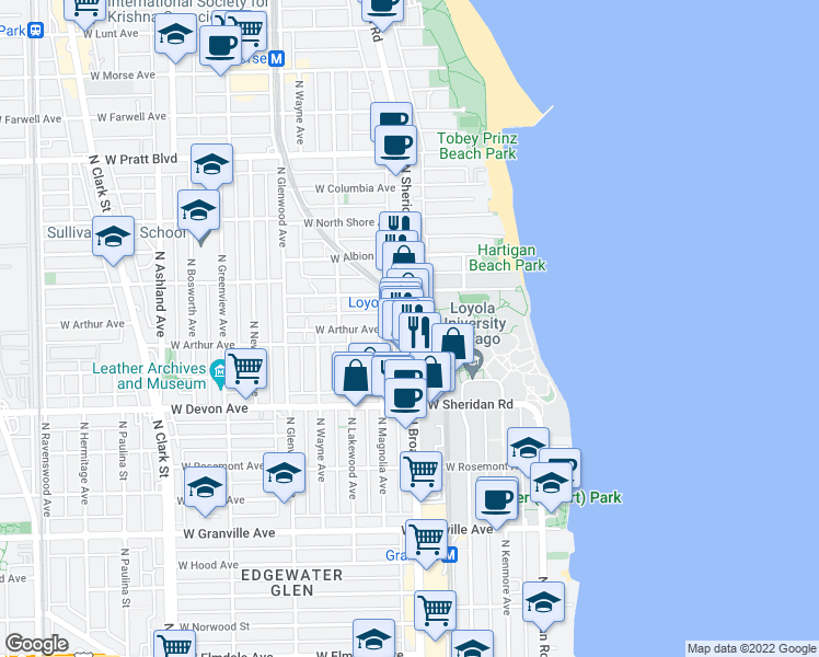 map of restaurants, bars, coffee shops, grocery stores, and more near N Sheridan Rd & W Arthur Ave in Chicago