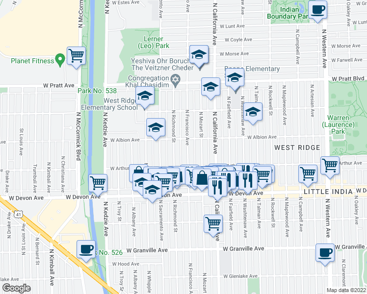 map of restaurants, bars, coffee shops, grocery stores, and more near 6540 North Francisco Avenue in Chicago