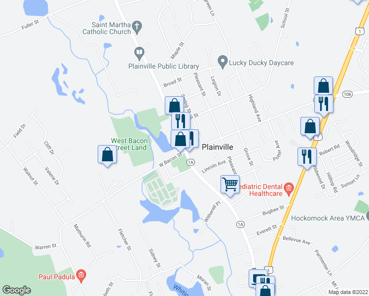 map of restaurants, bars, coffee shops, grocery stores, and more near 115 South St in Plainville