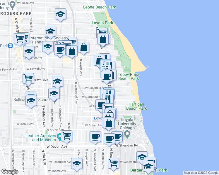 map of restaurants, bars, coffee shops, grocery stores, and more near N Sheridan Rd & W Columbia Ave in Chicago