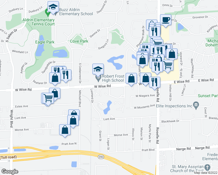 map of restaurants, bars, coffee shops, grocery stores, and more near 1220-1280 Crabtree Lane in Schaumburg