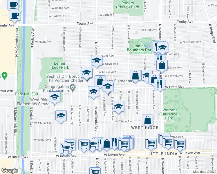 map of restaurants, bars, coffee shops, grocery stores, and more near 6772-6798 N Washtenaw Ave in Chicago