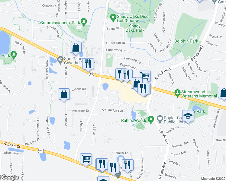 map of restaurants, bars, coffee shops, grocery stores, and more near 100 Meredith Lane in Streamwood