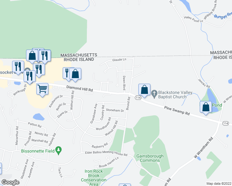 map of restaurants, bars, coffee shops, grocery stores, and more near 2515 Diamond Hill Road in Woonsocket