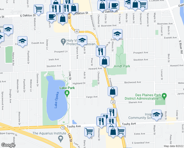 map of restaurants, bars, coffee shops, grocery stores, and more near 1323-1339 Howard Avenue in Des Plaines