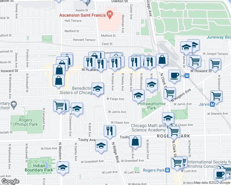 map of restaurants, bars, coffee shops, grocery stores, and more near 7441 North Hoyne Avenue in Chicago
