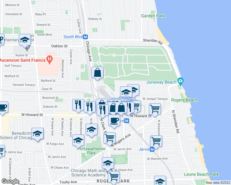 map of restaurants, bars, coffee shops, grocery stores, and more near N Hermitage Ave & N Haskins Ave in Chicago