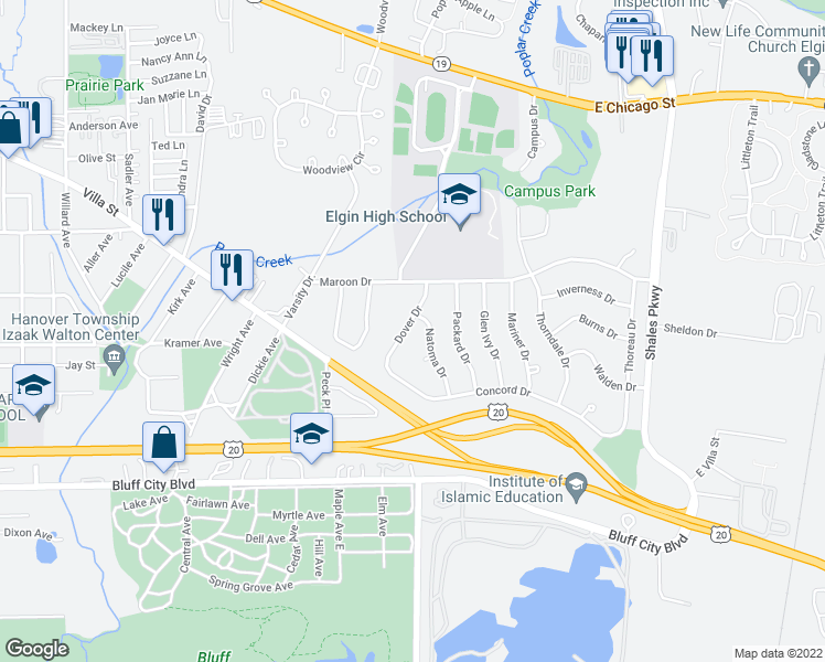 map of restaurants, bars, coffee shops, grocery stores, and more near 644 Natoma Drive in Elgin