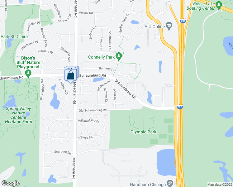 map of restaurants, bars, coffee shops, grocery stores, and more near 1-49 Lincoln Meadows Drive in Schaumburg