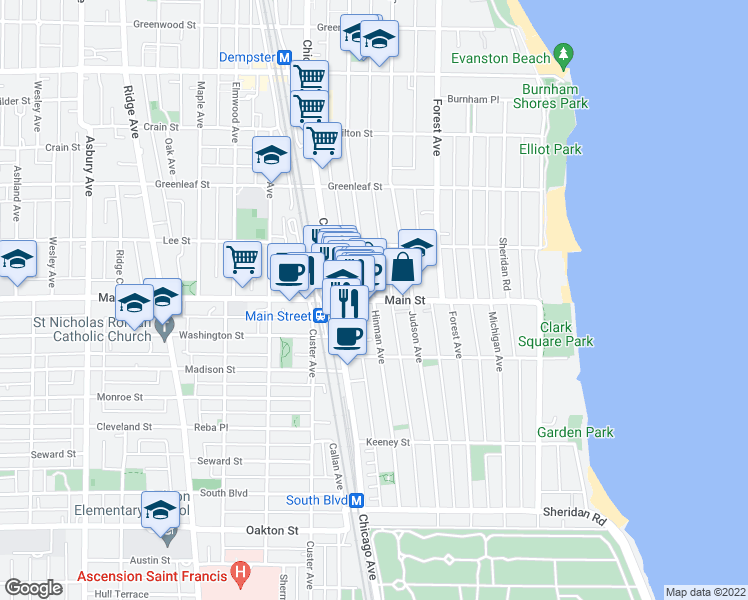 map of restaurants, bars, coffee shops, grocery stores, and more near Main Street & Hinman Avenue in Evanston