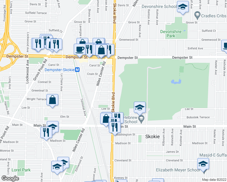 map of restaurants, bars, coffee shops, grocery stores, and more near 8609-8653 Skokie Highway in Skokie