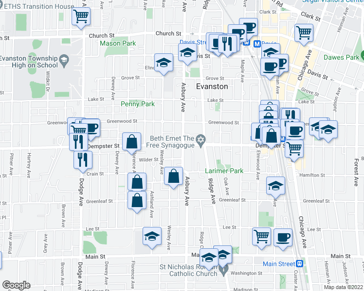 map of restaurants, bars, coffee shops, grocery stores, and more near in Evanston