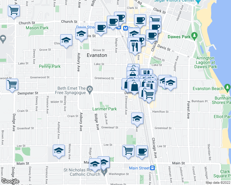 map of restaurants, bars, coffee shops, grocery stores, and more near Dempster St & Maple Ave in Evanston