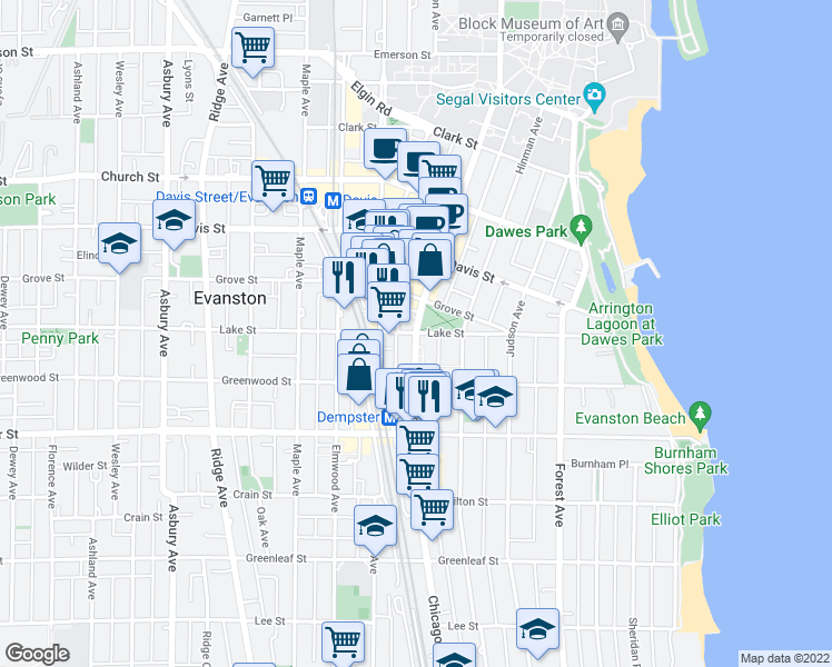 map of restaurants, bars, coffee shops, grocery stores, and more near Chicago Avenue & Lake Street in Evanston