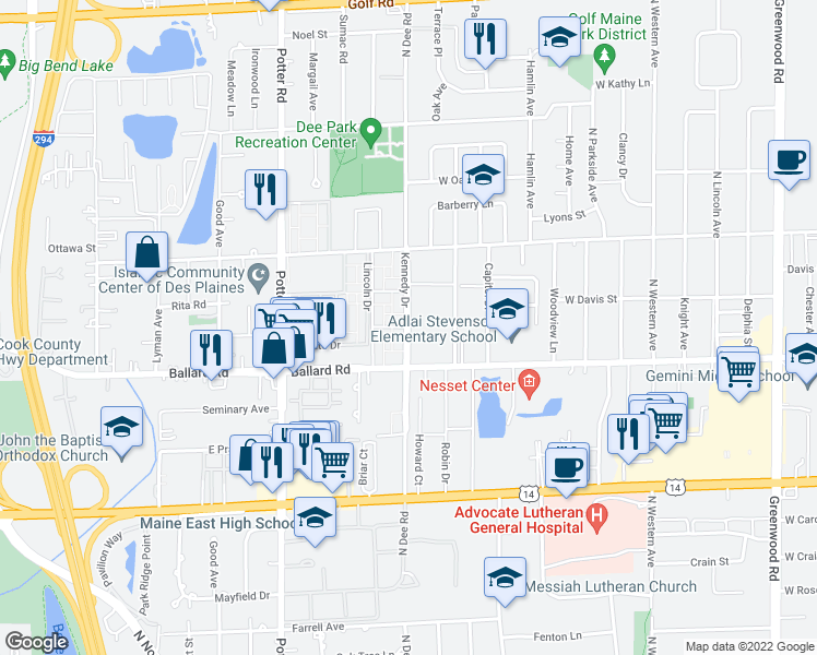 map of restaurants, bars, coffee shops, grocery stores, and more near 9018-9034 Kennedy Drive in Des Plaines