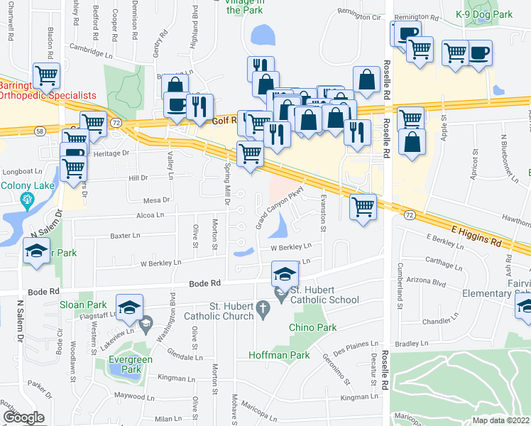 map of restaurants, bars, coffee shops, grocery stores, and more near 962 Butter Creek Court in Hoffman Estates