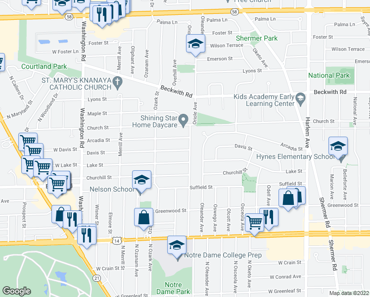 map of restaurants, bars, coffee shops, grocery stores, and more near 7616 Davis Street in Morton Grove