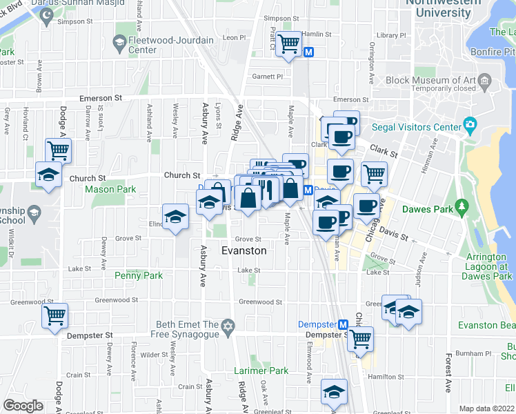map of restaurants, bars, coffee shops, grocery stores, and more near Davis Street & Oak Avenue in Evanston