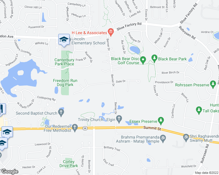 map of restaurants, bars, coffee shops, grocery stores, and more near 1425 Dale Drive in Elgin