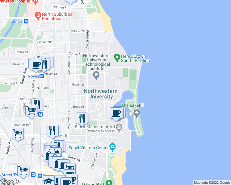 map of restaurants, bars, coffee shops, grocery stores, and more near 2169 Campus Drive in Evanston
