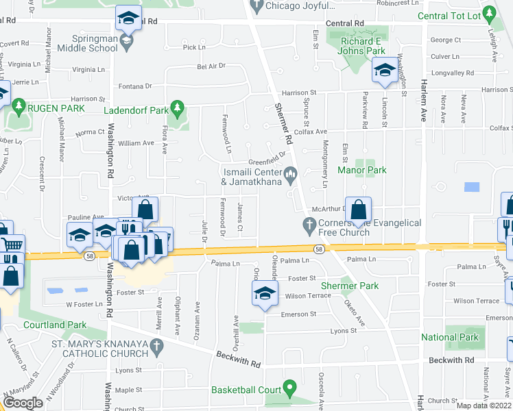 map of restaurants, bars, coffee shops, grocery stores, and more near 102 Stacy Court in Glenview