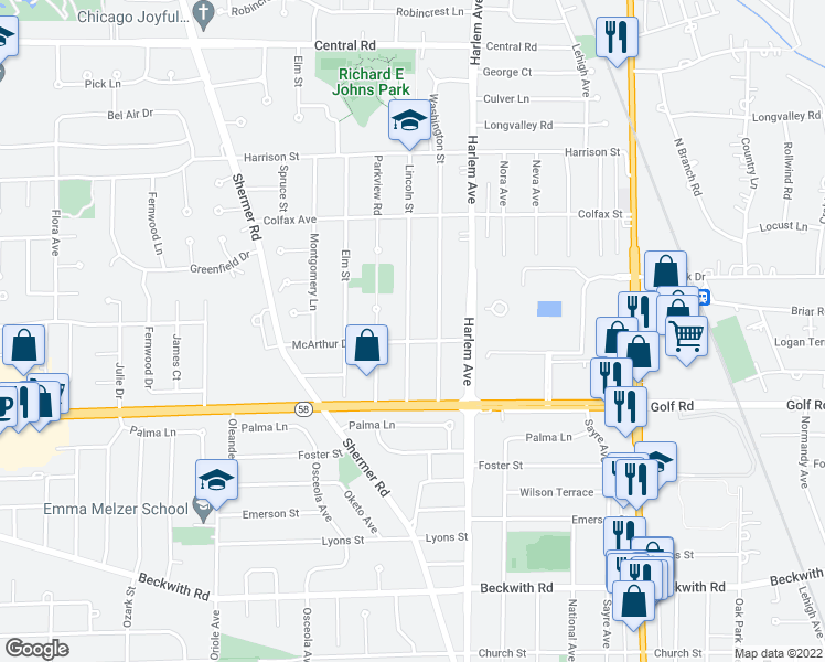 map of restaurants, bars, coffee shops, grocery stores, and more near 111 Lincoln St in Glenview