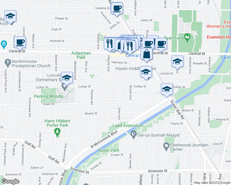 map of restaurants, bars, coffee shops, grocery stores, and more near 2320 Grey Avenue in Evanston