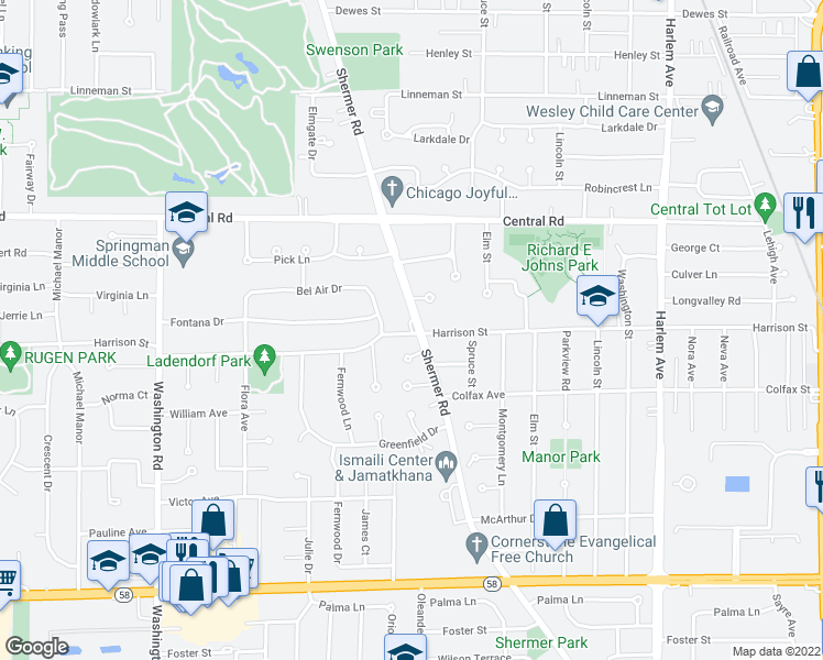 map of restaurants, bars, coffee shops, grocery stores, and more near 2310 Harrison Street in Glenview