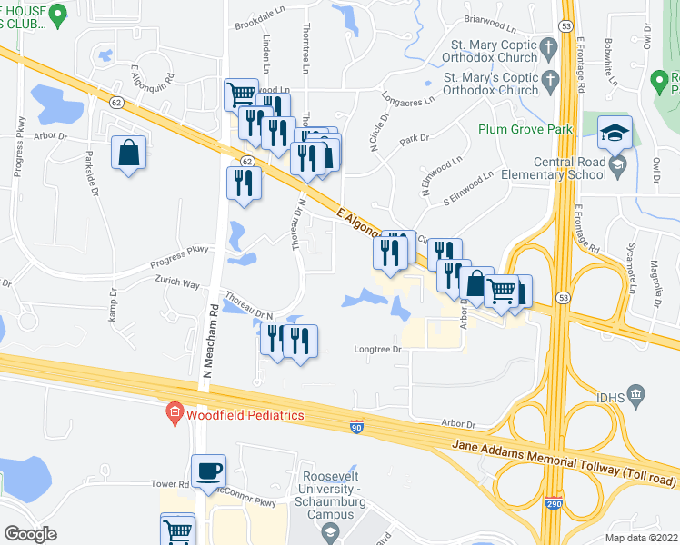 map of restaurants, bars, coffee shops, grocery stores, and more near 1923 Songsparrow Court in Schaumburg