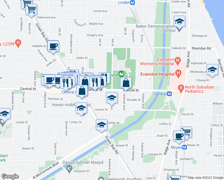 map of restaurants, bars, coffee shops, grocery stores, and more near Central St & Ashland Ave in Evanston