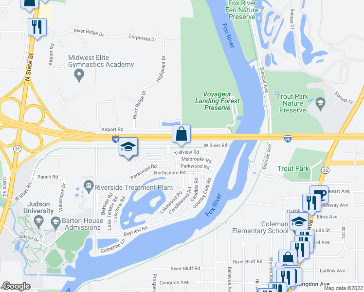 map of restaurants, bars, coffee shops, grocery stores, and more near 2-436 W River Rd in Elgin