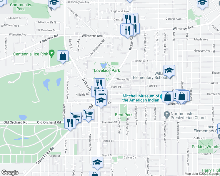 map of restaurants, bars, coffee shops, grocery stores, and more near 3300 Park Place in Evanston