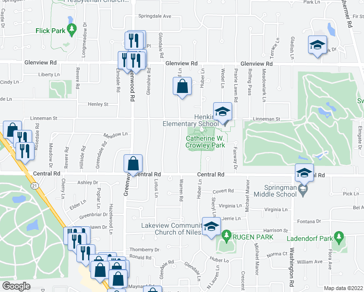 map of restaurants, bars, coffee shops, grocery stores, and more near 703 Glenwood Lane in Glenview