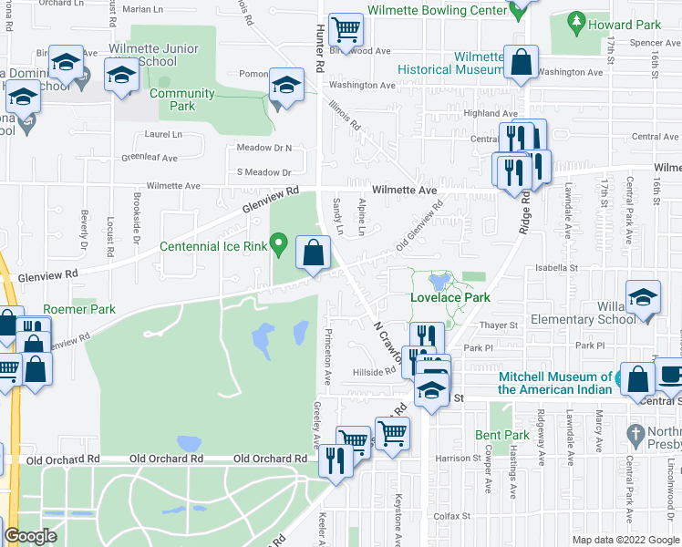 map of restaurants, bars, coffee shops, grocery stores, and more near 3700 Old Glenview Road in Evanston