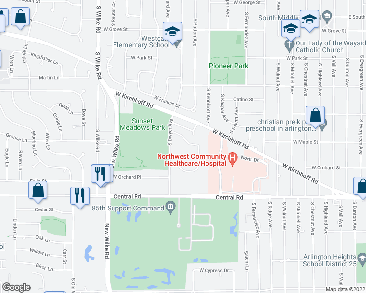 map of restaurants, bars, coffee shops, grocery stores, and more near 753 South Dwyer Avenue in Arlington Heights