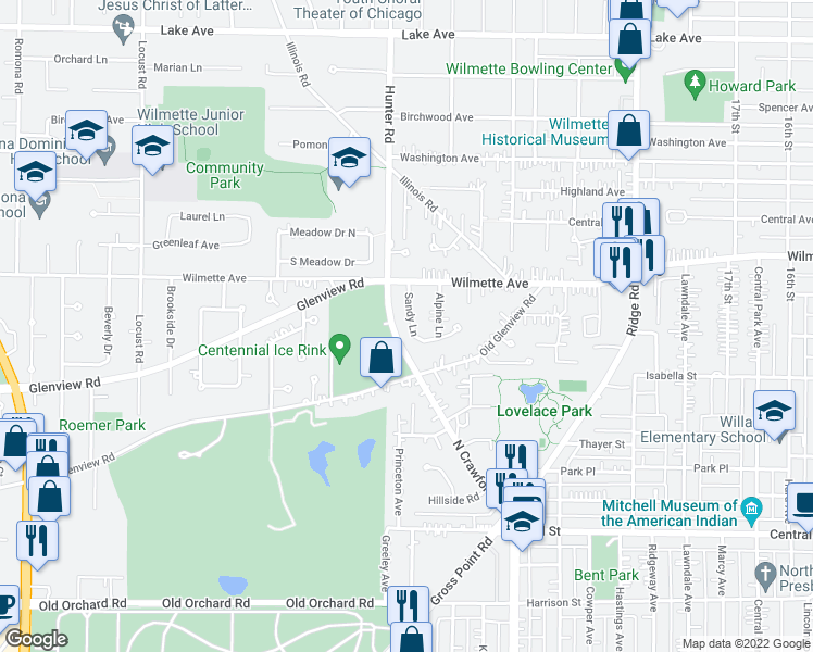 map of restaurants, bars, coffee shops, grocery stores, and more near 421 Sandy Lane in Wilmette