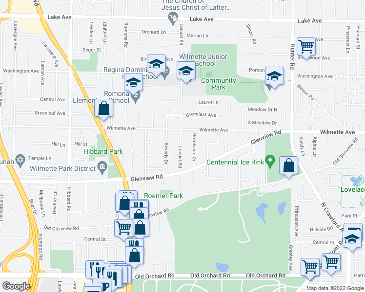 map of restaurants, bars, coffee shops, grocery stores, and more near 426 Locust Road in Wilmette