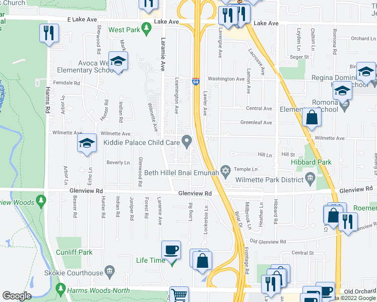 map of restaurants, bars, coffee shops, grocery stores, and more near 916 Long Road in Glenview