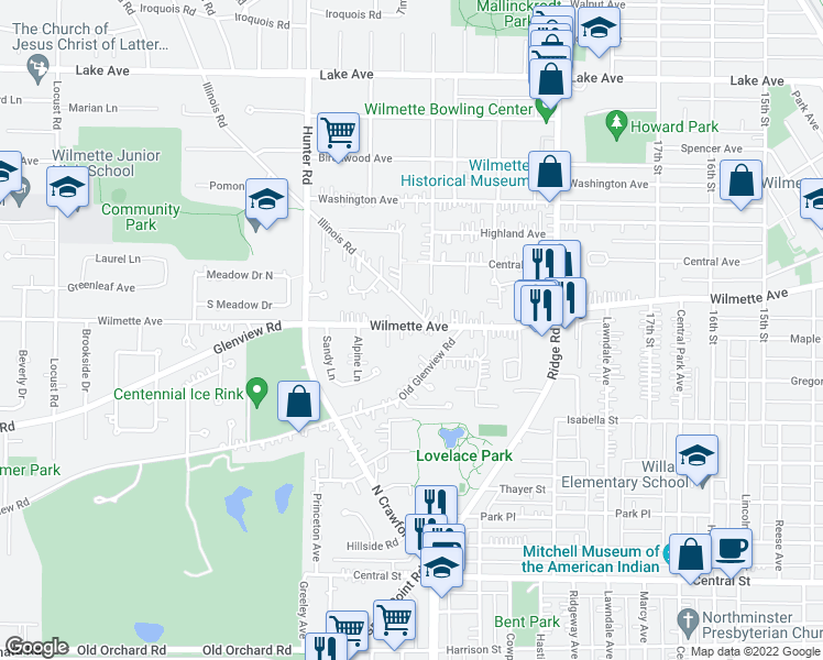 map of restaurants, bars, coffee shops, grocery stores, and more near 2123 Wilmette Avenue in Wilmette