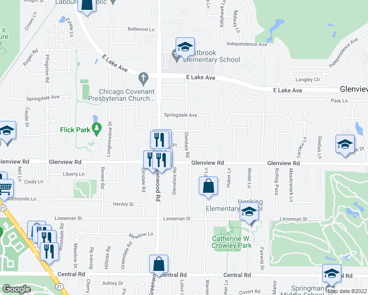 map of restaurants, bars, coffee shops, grocery stores, and more near 3109 Dell Place in Glenview