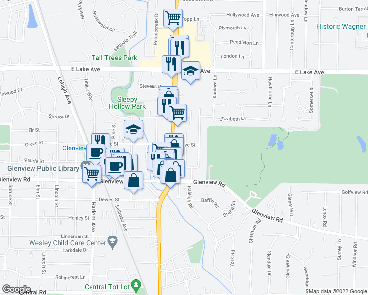 map of restaurants, bars, coffee shops, grocery stores, and more near 1134 Vernon Dr in Glenview
