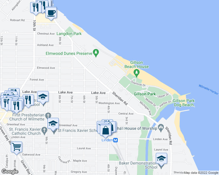 map of restaurants, bars, coffee shops, grocery stores, and more near 920 Sheridan Road in Wilmette