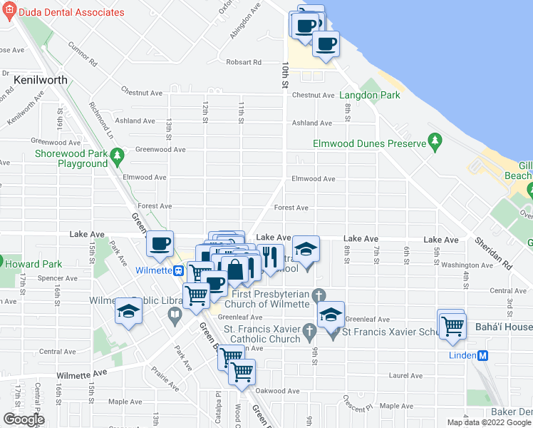 map of restaurants, bars, coffee shops, grocery stores, and more near 1055 Wilmette Avenue in Wilmette