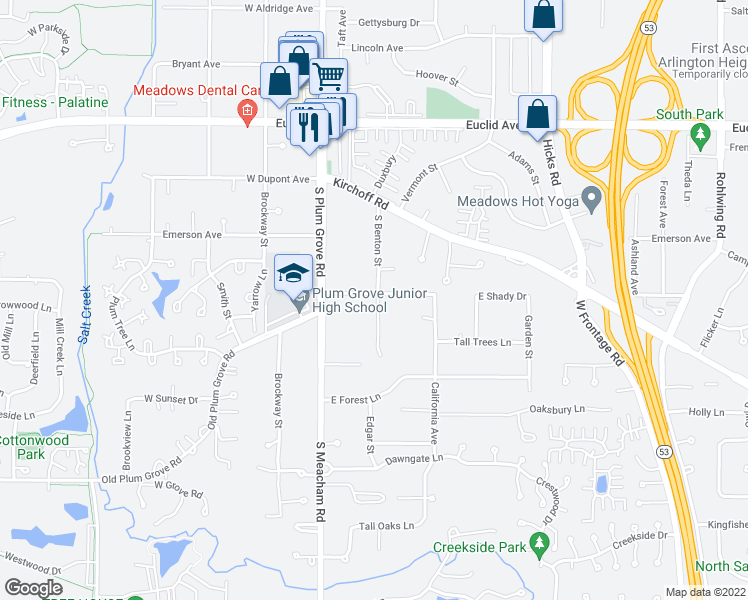 map of restaurants, bars, coffee shops, grocery stores, and more near 2621 Benton St in Palatine
