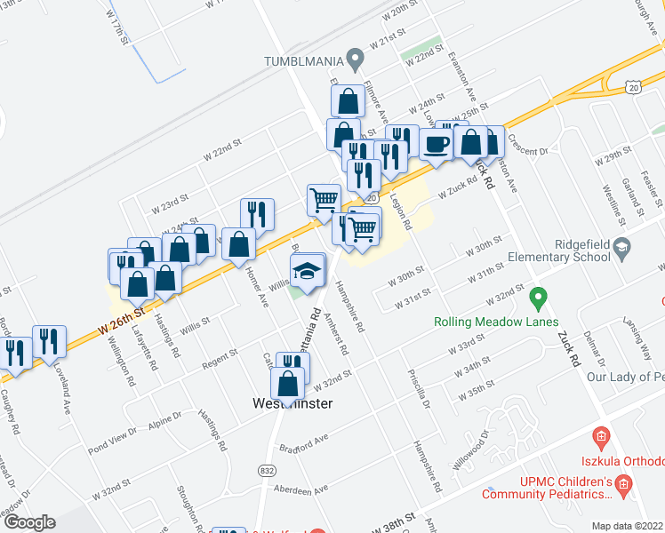 map of restaurants, bars, coffee shops, grocery stores, and more near 2815-2829 Sterrettania Rd in Erie