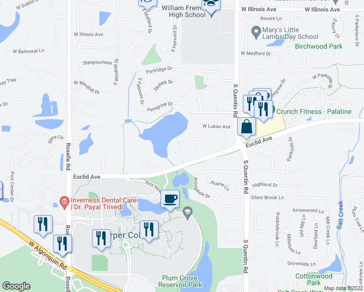 map of restaurants, bars, coffee shops, grocery stores, and more near 1249 South Falcon Drive in Palatine