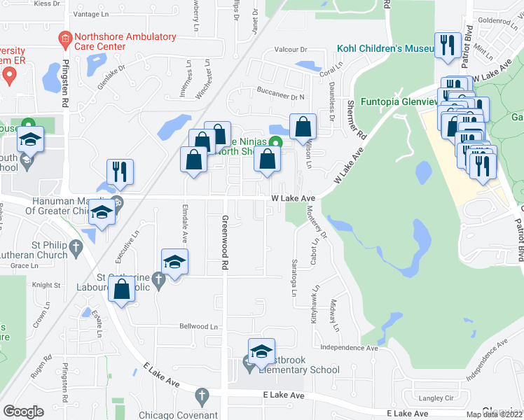 map of restaurants, bars, coffee shops, grocery stores, and more near in Glenview