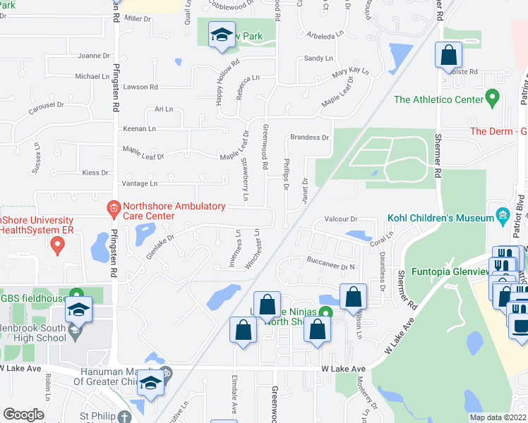 map of restaurants, bars, coffee shops, grocery stores, and more near 3315 Winnetka Road in Glenview